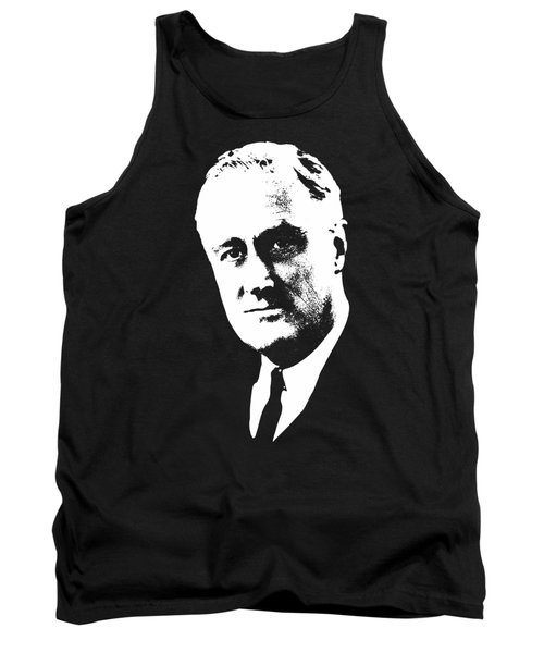 Franklin D. Roosevelt White On Black Pop Art Tank Top