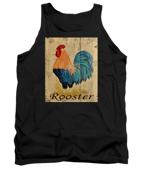French Country Shabby Cottage Rooster Tank Top by Cindy Micklos