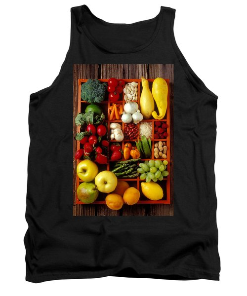 Fruits And Vegetables In Compartments Tank Top by Garry Gay