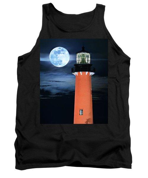 Full Moon Closeup Next To Jupiter Lighthouse In Florida Tank Top