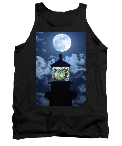 Tank Top featuring the photograph Full Moon Over Hillsboro Lighthouse In Pompano Beach Florida  by Justin Kelefas