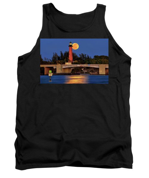 Tank Top featuring the photograph Full Moon Over Jupiter Lighthouse, Florida by Justin Kelefas