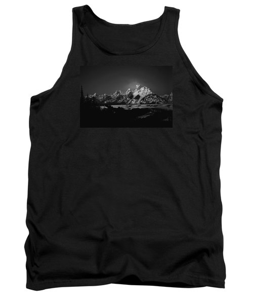 Full Moon Sets In The Tetons Tank Top by Raymond Salani III
