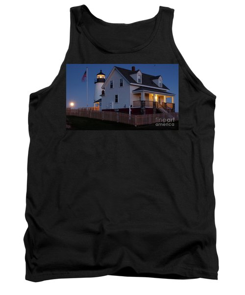 Full Moon Rise At Pemaquid Light, Bristol, Maine -150858 Tank Top by John Bald