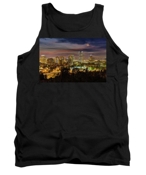 Full Moon Rising Over Downtown Portland Tank Top