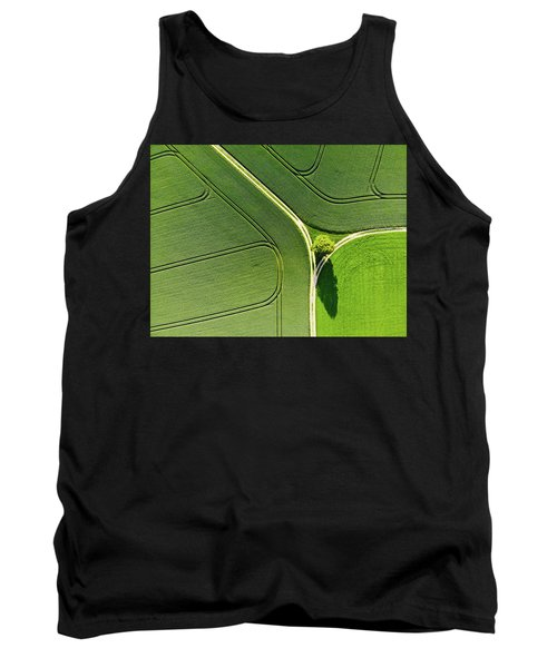 Geometric Landscape 05 Tree And Green Fields Aerial View Tank Top