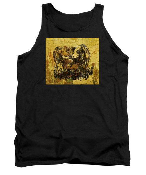 German Fleckvieh Bull 21 Tank Top by Larry Campbell