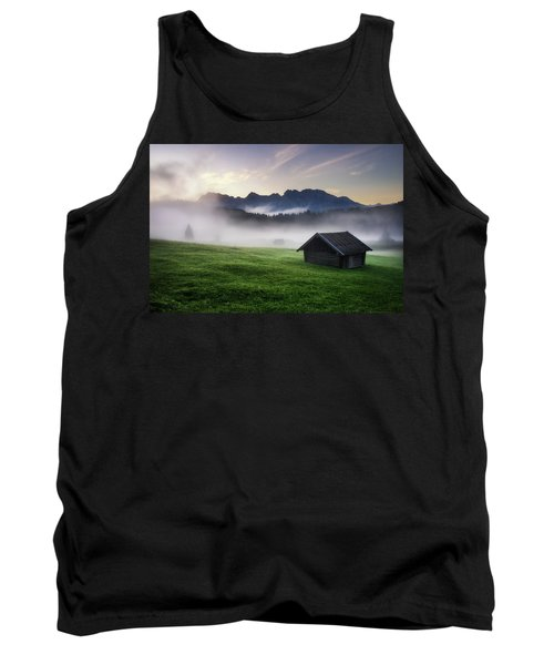 Geroldsee Forest With Beautiful Foggy Sunrise Over Mountain Peaks, Bavarian Alps, Bavaria, Germany. Tank Top