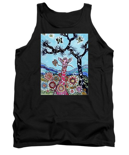 Tank Top featuring the painting Giraffe In Garden by Connie Valasco