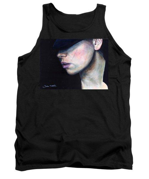 Girl In Black Hat Tank Top