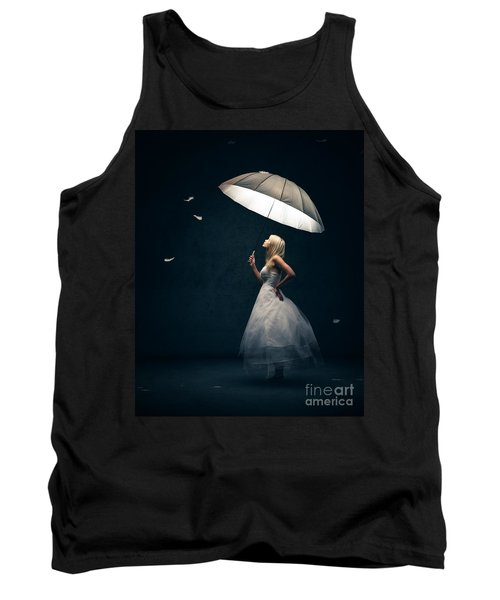 Girl With Umbrella And Falling Feathers Tank Top by Johan Swanepoel