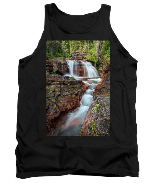 Glacier National Park Waterfall 2 Tank Top by Andres Leon