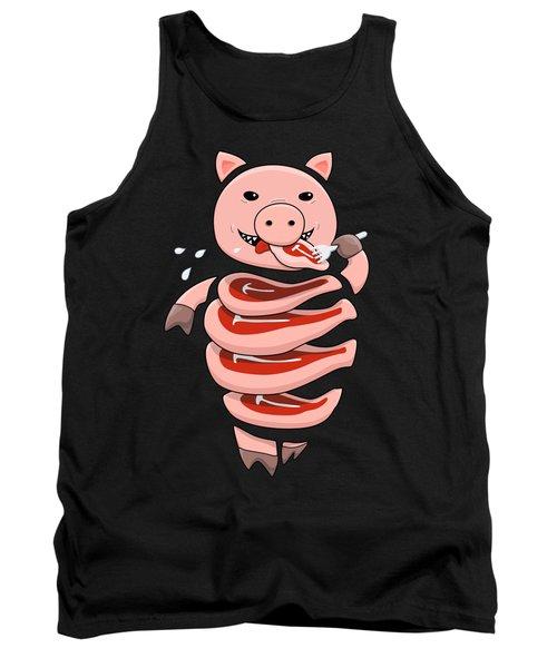 Gluttonous Self-eating Pig Tank Top by Boriana Giormova