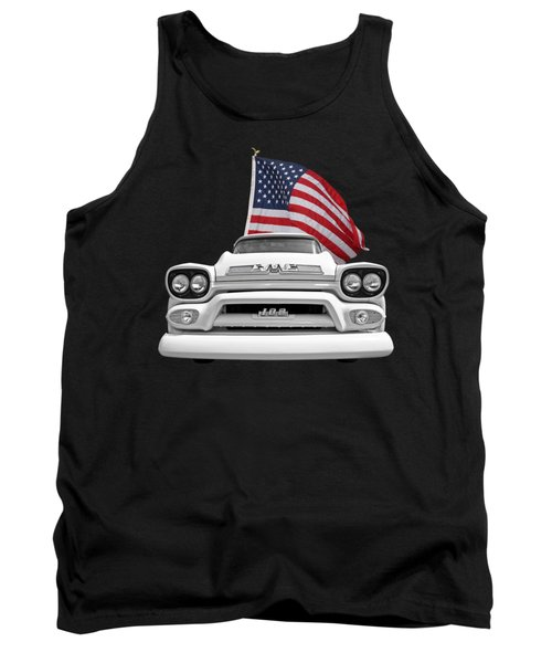 Gmc Pickup With Us Flag Tank Top