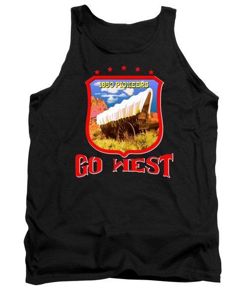 Go West Pioneer - Tshirt Design Tank Top by Art America Gallery Peter Potter