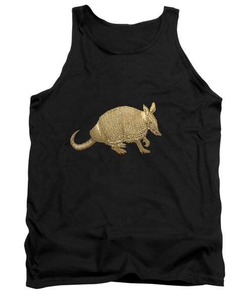 Tank Top featuring the digital art Gold Armadillo On Black Canvas by Serge Averbukh