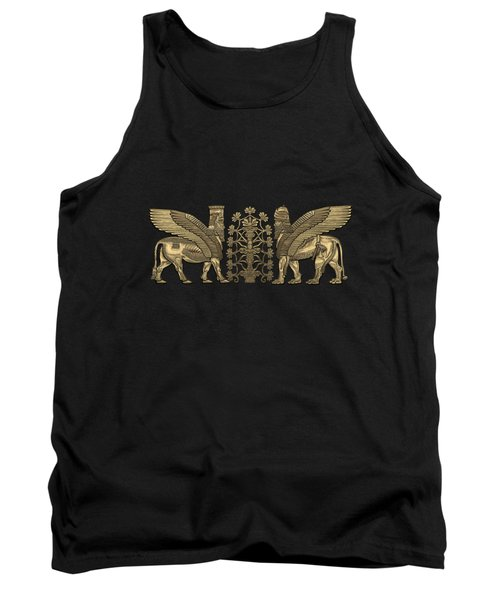Gold Assyrian Winged Lion And Winged Bull - Lumasi With Tree Of Life Over Black Canvas Tank Top