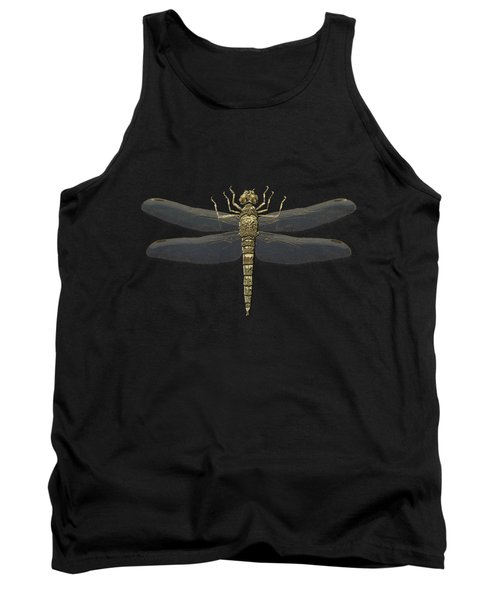 Tank Top featuring the digital art Gold Dragonfly On Black Canvasgold Dragonfly On Black Canvas by Serge Averbukh