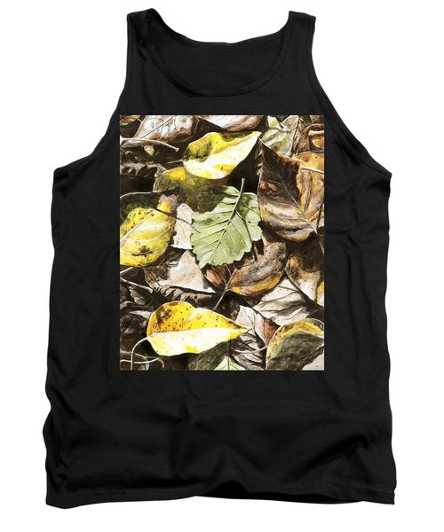 Tank Top featuring the painting Golden Autumn - Talkeetna Leaves by Karen Whitworth