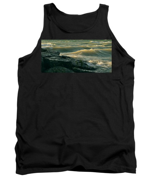 Golden Capped Sunset Waves Of Lake Michigan Tank Top
