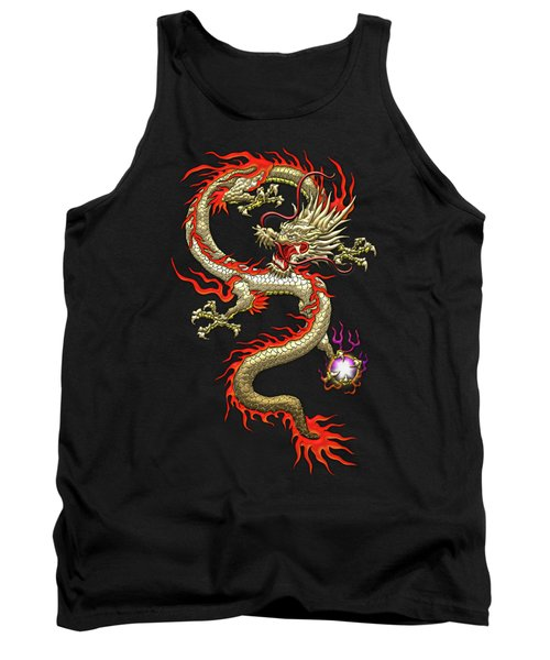 Golden Chinese Dragon Fucanglong On Black Silk Tank Top by Serge Averbukh