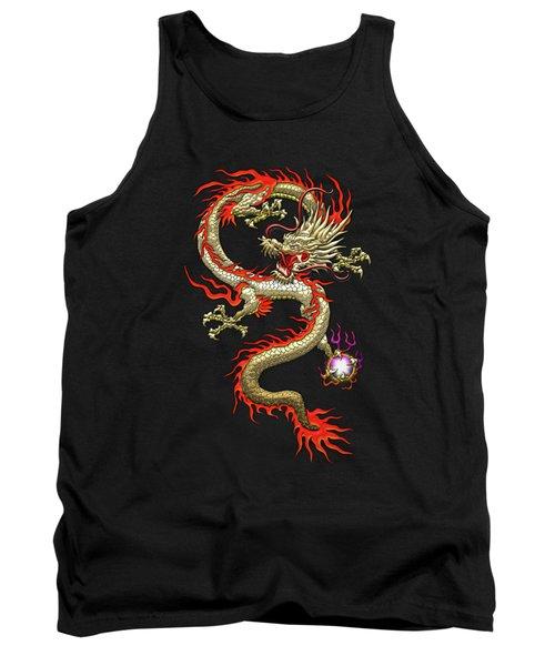 Golden Chinese Dragon Fucanglong On Black Silk Tank Top