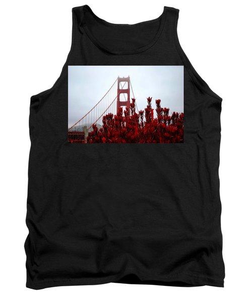 Golden Gate Bridge Red Flowers Tank Top by Matt Harang