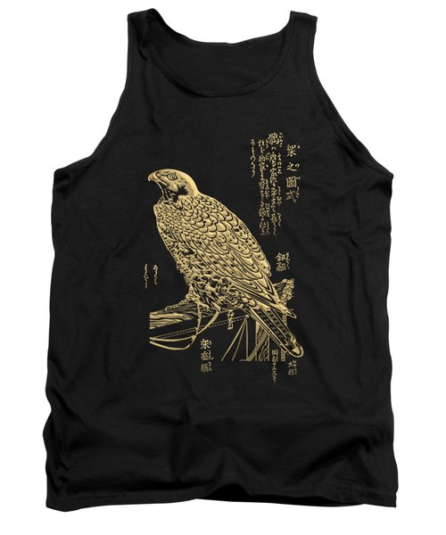 Golden Japanese Peregrine Falcon On Black Canvas  Tank Top