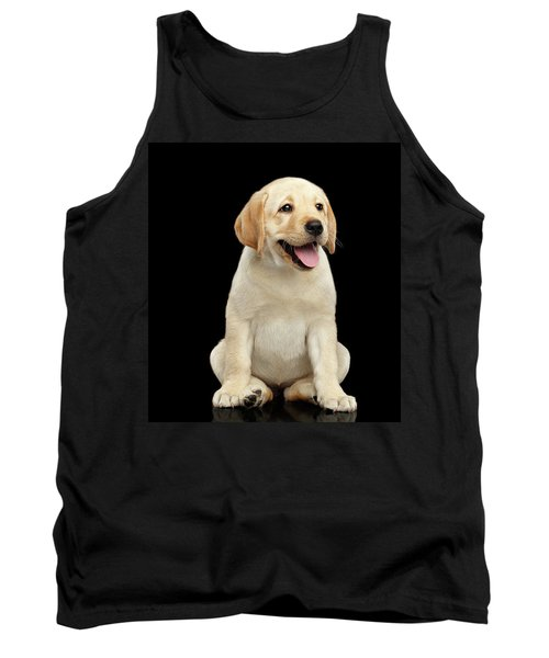 Golden Labrador Retriever Puppy Isolated On Black Background Tank Top