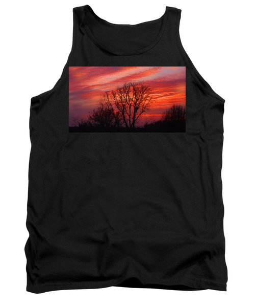 Tank Top featuring the digital art Golden Pink Sunset With Trees by Shelli Fitzpatrick