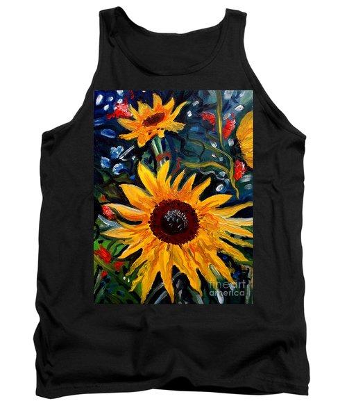 Golden Sunflower Burst Tank Top