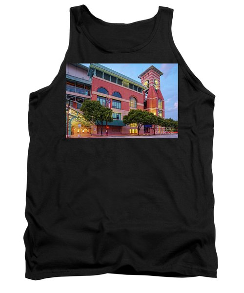 Golden Sunset Glow On The Facade Of Minute Maid Park - Downtown Houston Harris County Texas Tank Top