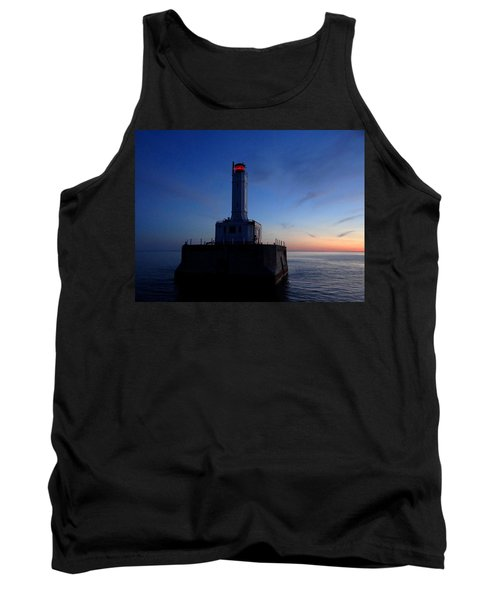 Grays Reef Lighthouse At Dusk Tank Top by Keith Stokes