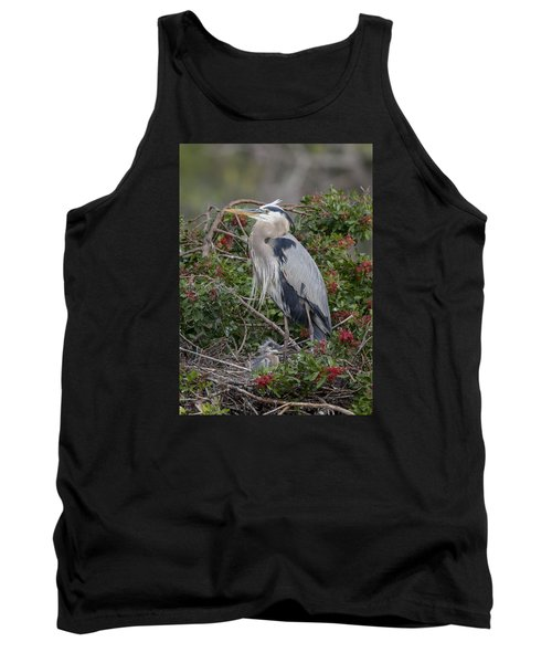 Great Blue Heron And Nestling Tank Top