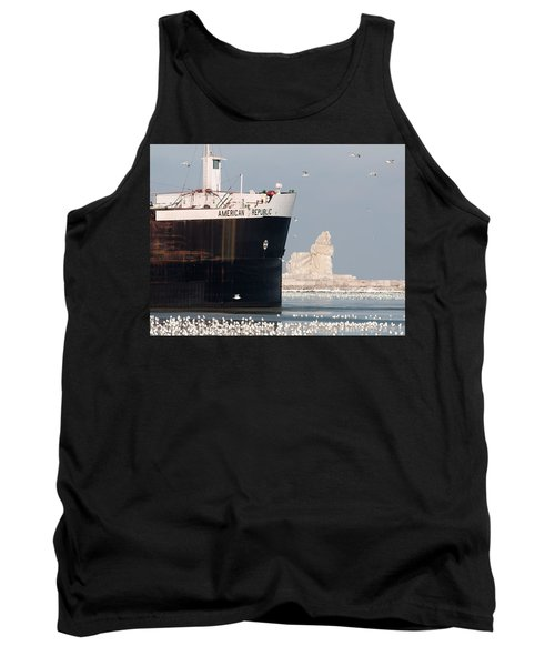 Great Lakes Ship Passing A Frozen Cleveland Lighthouse Tank Top