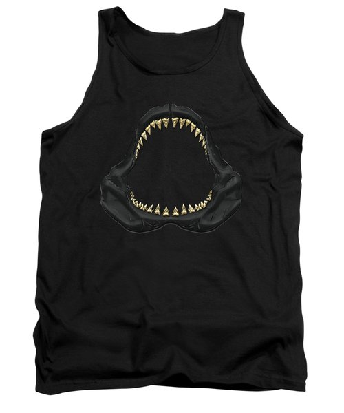 Great White Shark - Black Jaws With Gold Teeth On Black Canvas Tank Top