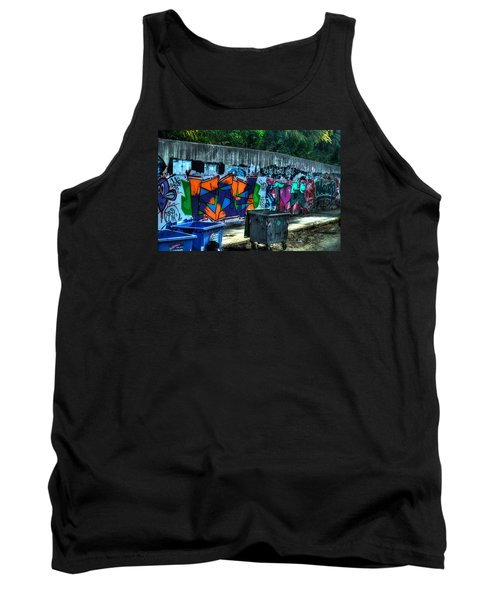 Tank Top featuring the photograph Greek Graffiti With Garbage Bins by Richard Ortolano