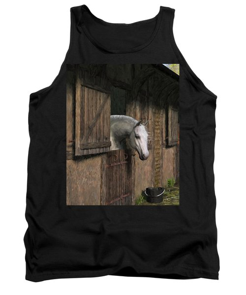 Grey Horse In The Stable - Waiting For Dinner Tank Top