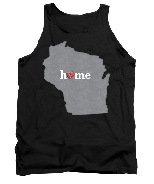 State Map Outline Wisconsin With Heart In Home Tank Top