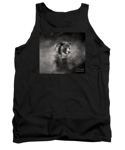 Grizzly Black And White In Clouds Tank Top by Clare VanderVeen