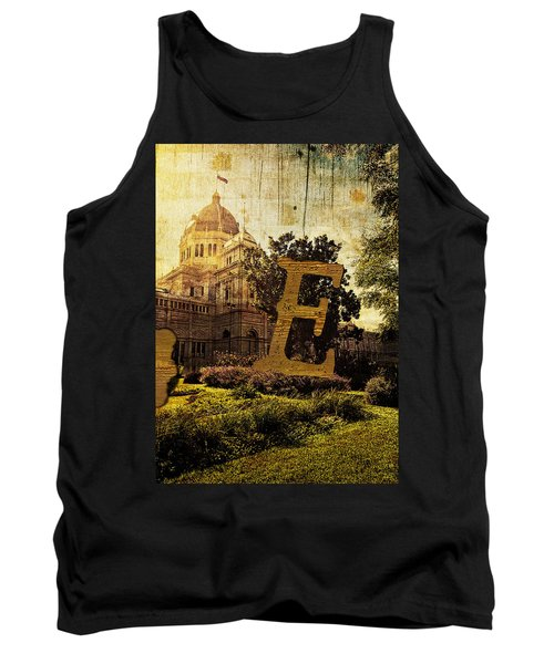 Grungy Melbourne Australia Alphabet Series Letter E Royal Exhibi Tank Top