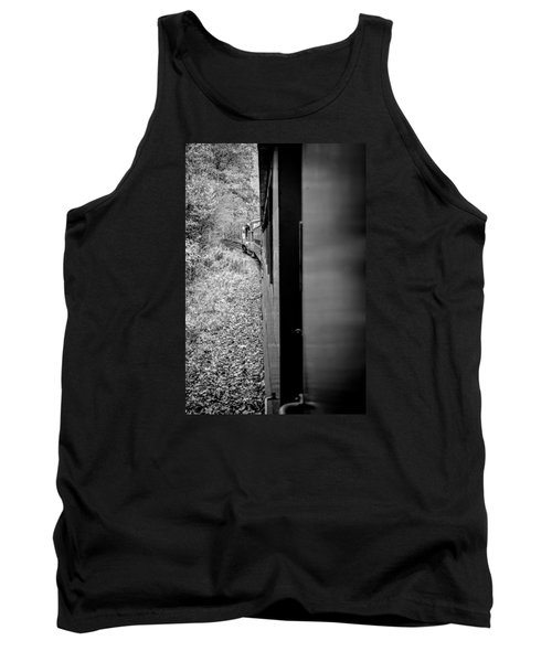 Half In Half Out Of The Train In The Mountains Tank Top