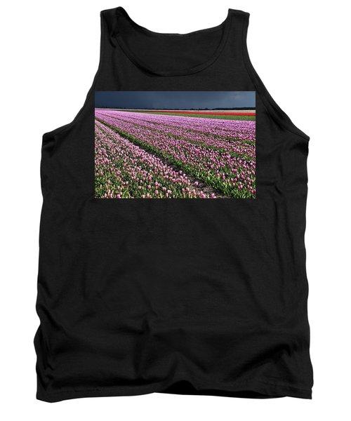 Half Side Purple Tulip Field Tank Top by Mihaela Pater