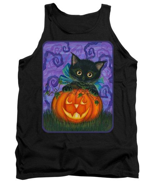 Halloween Black Kitty - Cat And Jackolantern Tank Top