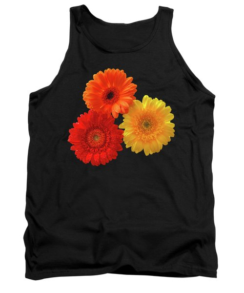 Happiness - Orange Red And Yellow Gerbera On Black Tank Top by Gill Billington