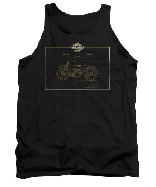 Tank Top featuring the digital art Harley-davidson 1924 Vintage Patent In Gold On Black by Serge Averbukh