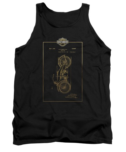Tank Top featuring the digital art Harley-davidson Vintage 1924 Patent In Gold With 3d Badge On Black by Serge Averbukh