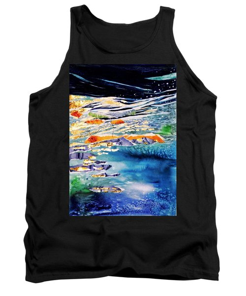 Tank Top featuring the painting Harmony In Blue And Gold  by Trudi Doyle
