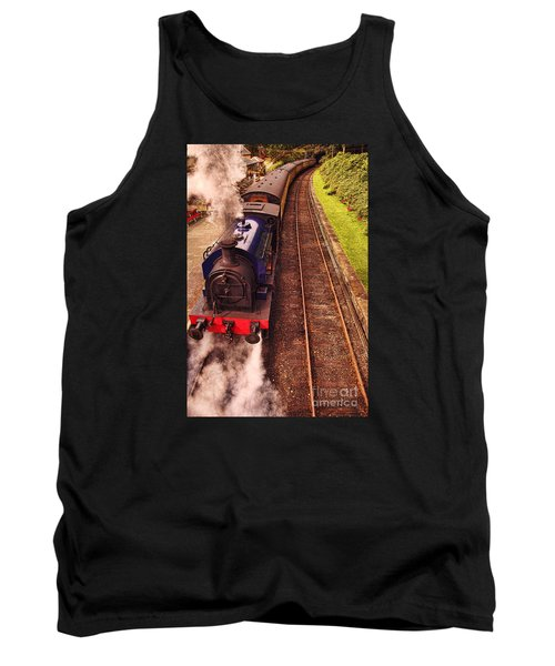 Tank Top featuring the photograph Harry Potters Haverthwaite Railway Station by Graham Hawcroft pixsellpix