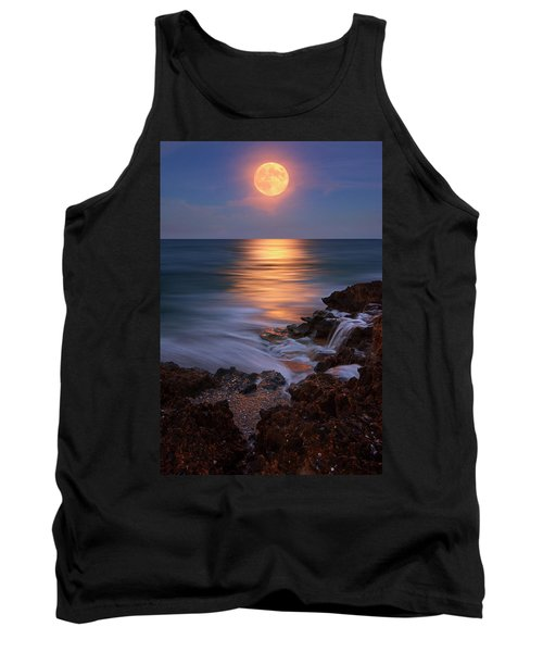 Tank Top featuring the photograph Harvest Moon Rising Over Beach Rocks On Hutchinson Island Florida During Twilight. by Justin Kelefas